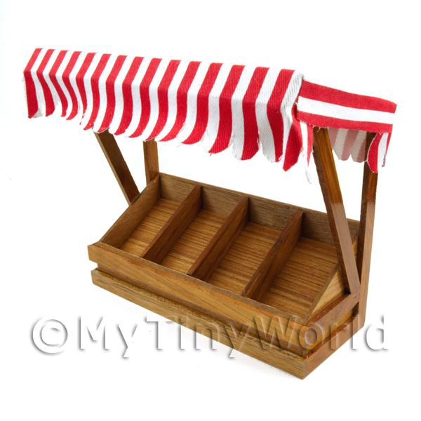 Dolls House Miniature  | Miniature 4 Section Long Tilted Shop Display With Red Striped Canopy
